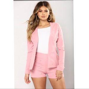 Pearl Blazer and Short Set Pink